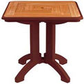 """Grosfillex® 32"""" Square Outdoor Folding Tables 2-Tone Woodgrained Burgundy (Sold in Pk. Qty 2) - Pkg Qty 2"""