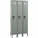Hallowell Premium Locker Single Tier 18x21x72 3 Door Ready To Assemble Gray