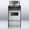 "Summit Deluxe 220V Electric Range, Slim 20""W W/Stainless Steel Doors"