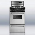"Summit Deluxe Gas Range, Slim 20""W W/Stainless Steel Doors & Four Sealed Burners"