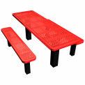 """72"""" Permanent Rectangular Picnic Table Perforated Metal"""