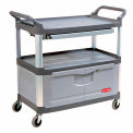 Rubbermaid Xtra Instrument Cart Gray with Lockable Cabinet & Sliding Shelf