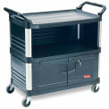 Rubbermaid Xtra Three Shelf Equipment Cart Black with Lockable Cabinet