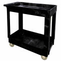 Rubbermaid Economical Tray Shelf Plastic Service & Utility Cart 34x16 Black