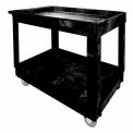Rubbermaid Economical Tray Shelf Plastic Service & Utility Cart 40x24 Black