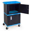 Blue Industrial Plastic Shelf Mobile Storage Cabinet Truck 250 Lb. Capacity
