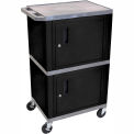Gray Industrial Plastic Shelf Mobile Storage Cabinet Truck 250 Lb. Capacity