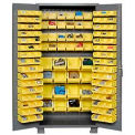 "Jamco Bin Cabinet GN236KE - 14 ga. Welded with 136 Bins Flush Door, 36""W x 24""D x 78""H"