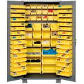 "Jamco Bin Cabinet GN236KF - 14 ga. Welded with 132 Bins Flush Door, 36""W x 24""D x 78""H"