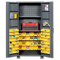 "Jamco Bin Cabinet GR236KM - 14 Gauge Welded with 72 Bins And Shelves Deep Door, 36""W x 24""D x 78""H"