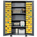 "Jamco Bin Cabinet GR236KH - 14 Gauge Welded with 96 Bins And Shelves Deep Door, 36""W x 24""D x 78""H"