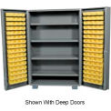 "Jamco Bin Cabinet GM260KD - 14 ga. Welded with 170 Bins And Shelves Flush Door, 60""Wx24""Dx78""H"