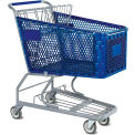 Blue Plastic Shopping Cart 6.3 Cu. Foot Capacity