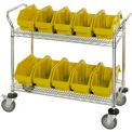 18X36X38 Chrome Wire Mobile Cart With 10 QuickPick Double Open Bins Yellow