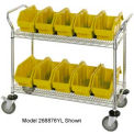 18X36X38 Chrome Wire Mobile Cart With 15 QuickPick Double Open Bins Yellow