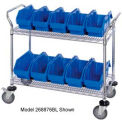 18X36X38 Chrome Wire Mobile Cart With 8 QuickPick Double Open Bins Blue