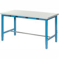 """72""""W x 36""""D Lab Bench with Power Apron - Plastic Laminate Safety Edge - Blue"""
