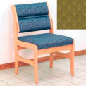 Guest Chair w/o Arms - Light Oak/Olive Arch Pattern Fabric