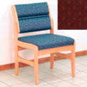 Guest Chair w/o Arms - Light Oak/Burgundy Arch Pattern Fabric