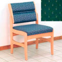 Guest Chair w/o Arms - Light Oak/Green Arch Pattern Fabric