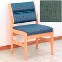 Guest Chair w/o Arms - Light Oak/Green Fabric