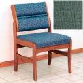 Guest Chair w/o Arms - Medium Oak/Green Fabric