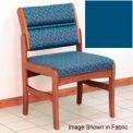 Guest Chair w/o Arms - Medium Oak/Blue Vinyl