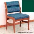 Guest Chair w/o Arms - Medium Oak/Green Vinyl