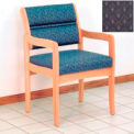 Guest Chair w/ Arms - Light Oak/Blue Arch Pattern Fabric