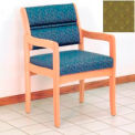 Guest Chair w/ Arms - Light Oak/Olive Arch Pattern Fabric