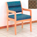 Guest Chair w/ Arms - Light Oak/Khaki Arch Pattern Fabric