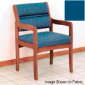Guest Chair w/ Arms - Medium Oak/Blue Vinyl