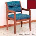Guest Chair w/ Arms - Medium Oak/Burgundy Vinyl