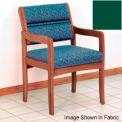 Guest Chair w/ Arms - Medium Oak/Green Vinyl