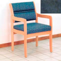 Guest Chair w/ Arms - Light Oak/Blue Water Pattern Fabric
