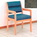 Guest Chair w/ Arms - Light Oak/Green Water Pattern Fabric