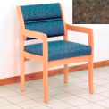 Guest Chair w/ Arms - Light Oak/Earth Water Pattern Fabric