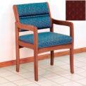 Guest Chair w/ Arms - Medium Oak/Burgundy Arch Pattern Fabric