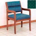 Guest Chair w/ Arms - Medium Oak/Green Arch Pattern Fabric