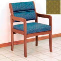 Guest Chair w/ Arms - Medium Oak/Olive Arch Pattern Fabric