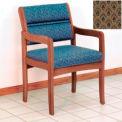 Guest Chair w/ Arms - Medium Oak/Khaki Arch Pattern Fabric