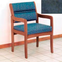 Guest Chair w/ Arms - Medium Oak/Blue Water Pattern Fabric