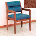 Guest Chair w/ Arms - Medium Oak/Rose Water Pattern Fabric