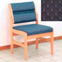 Guest Chair w/o Arms - Light Oak/Blue Arch Pattern Fabric