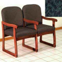Double Sled Base Chair w/ Arms - Mahogany/Green Leaf Pattern Fabric