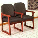 Double Sled Base Chair w/ Arms - Mahogany/Taupe Leaf Pattern Fabric