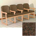Quadruple Sled Base Chair w/ Arms - Light Oak/Earth Water Pattern Fabric