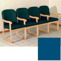 Quadruple Sled Base Chair w/ Arms - Light Oak/Blue Vinyl