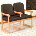 Double Sled Base Chair w/ Arms - Light Oak/Earth Water Pattern Fabric