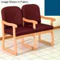 Double Sled Base Chair w/ Arms - Light Oak/Blue Vinyl